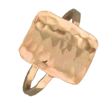 Mark Steel Hammered Rectangle Gold Filled Ring 150