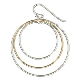Mark Steel Three Circles Gold Filled Earrings