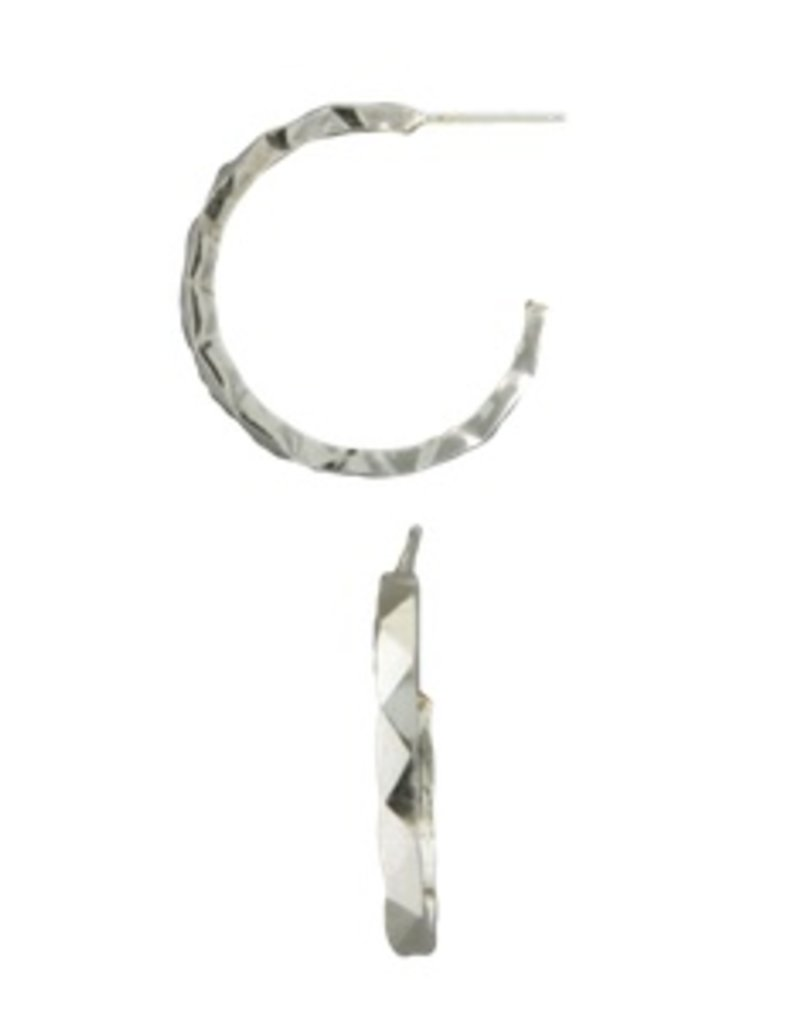 Mark Steel Random Facet Post Hoop Sterling Silver Earring p3