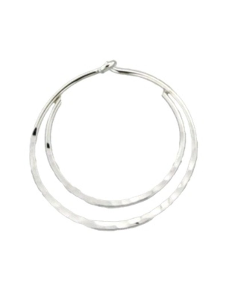 Mark Steel Hammered Double Hoop Sterling Silver Earring - 20mm