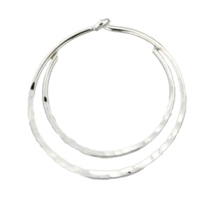 Mark Steel Hammered Double Hoop Sterling Silver Earring - 20mm