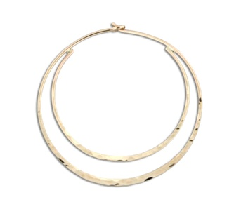Mark Steel Hammered Double Hoop Gold Filled Earring 34mm h27