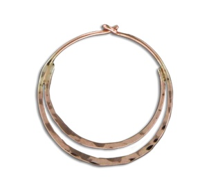 Mark Steel Hammered Double Hoop Rose Gold Filled Earring - 20mm