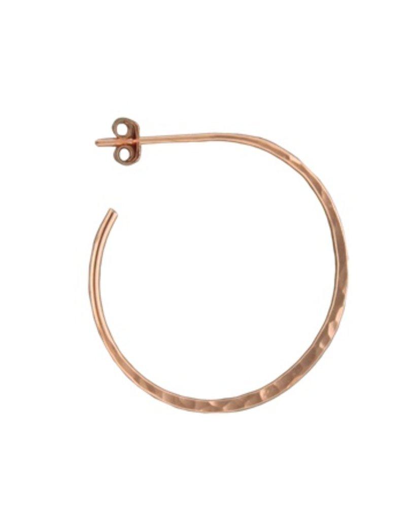 Mark Steel Post Hoop Hammered 30mm Rose Gold Filled