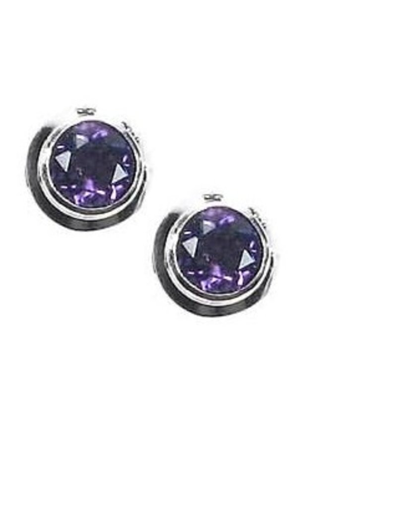 Vera Wolf Sterling Silver Gem Stone Stud Earrings