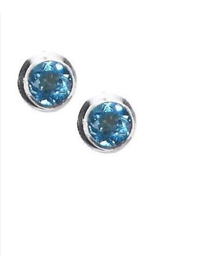 Vera Wolf Sterling Silver Gem Stone Stud Earrings