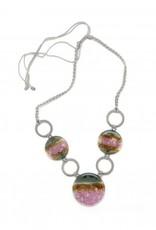 Nancy Dunitz Handmade Circles Fused Glass Macrame Necklace
