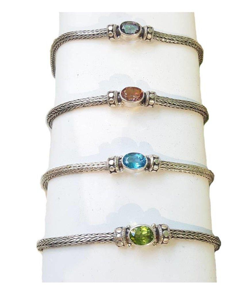 Vera Wolf Sterling Silver Dot Weave Stone Bracelet