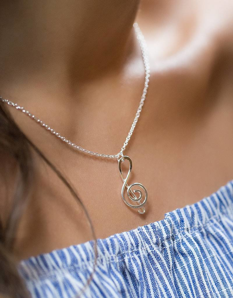 """Mark Steel Sterling Silver Music Note 18"""" Pendant Necklace"""