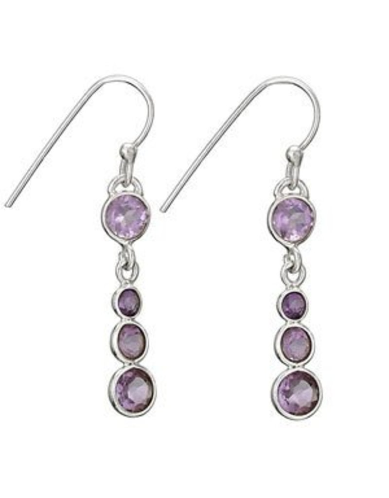 Tiger Mountain Amethyst 4 Round Earrings
