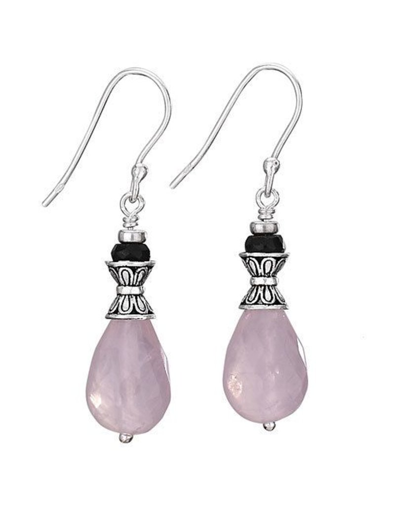 Tiger Mountain Rose Quartz with Purple Crystal on Top Earrings