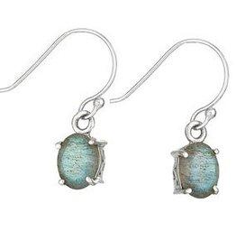 Steven + Clea Labradorite Oval Sterling Silver Earrings