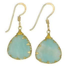 Steven + Clea Amazonite Brass Wrap Earrings