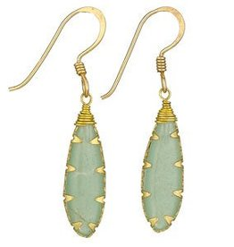 Steven + Clea Aventurine Brass Wrap Earrings