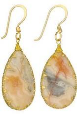 Steven + Clea Agate Brass Wrap Earrings