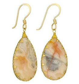 Steven + Clea Agate Brass Wrap Earrings