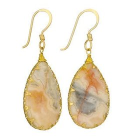 Tiger Mountain Agate Brass Wrap Earrings