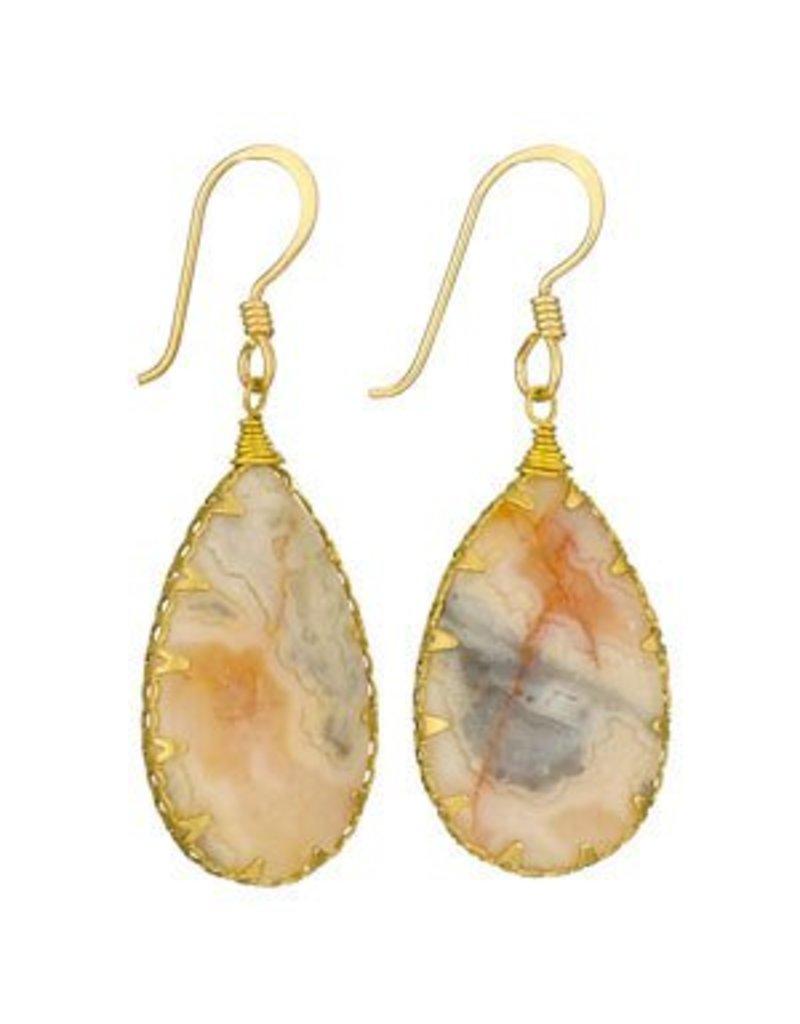Tiger Mountain Agate Brass Wrap Earrings
