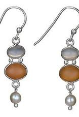 Steven + Clea Moonstone Peach Moon and Pearl Earrings