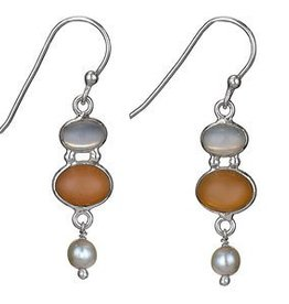 Steven + Clea Moonstone Peach Moon and Pearl Earrings
