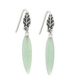 Steven + Clea Aventurine Drop off Leaf Earring