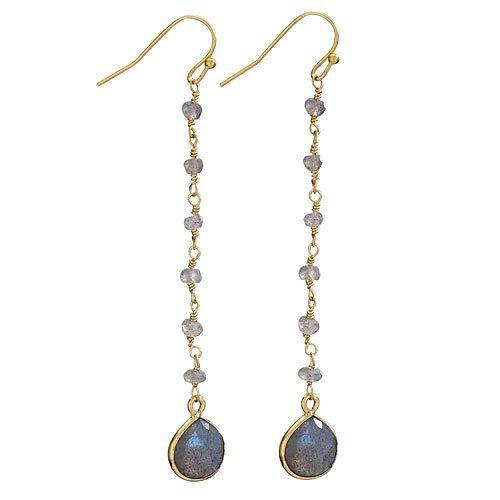 Steven + Clea Labradorite 18k Gold Plated Earring