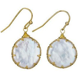 Steven + Clea Blister Pearl Brass Earrings