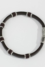 Marpa Eager Brown Silver Leather Bracelet - 087