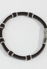 Marpa Eager Brown Silver Men's Leather Bracelet - 087