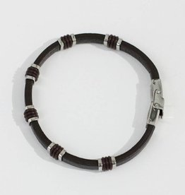 Marpa Eager Brown Silver Men's Leather Bracelet - 087