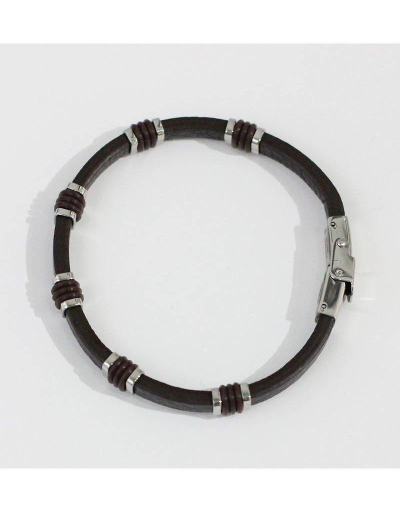 Crossroads Accessories Inc Brown Silver Men's Leather Bracelet - 087