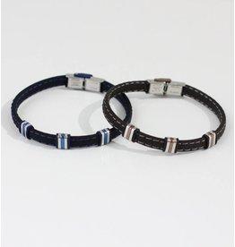 Crossroads Accessories Inc Brown Silver Men's Leather Bracelet - 234