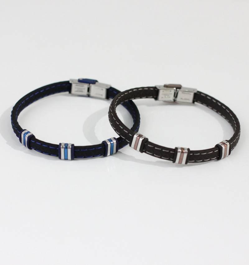 Marpa Eager Brown Silver Men's Leather Bracelet - 234