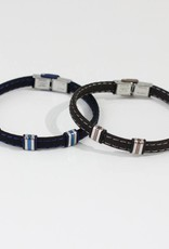 Marpa Eager Blue Silver Men's Leather Bracelet - 235