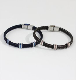 Crossroads Accessories Inc Blue Silver Men's Leather Bracelet - 235