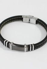 Marpa Eager Black Gray Silver Men's Leather Bracelet - 238