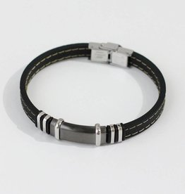 Marpa Eager Black Gray Silver Men's Leather Bracelet - 238