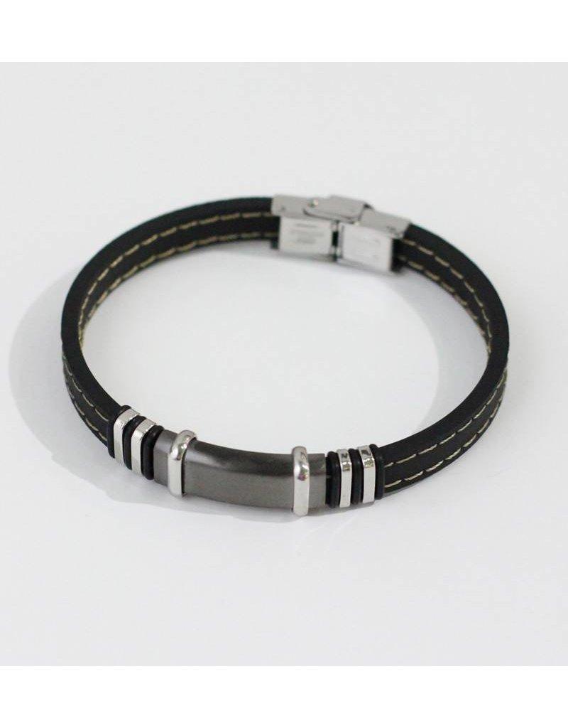 Crossroads Accessories Inc Black Gray Silver Men's Leather Bracelet - 238