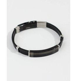 Crossroads Accessories Inc Brown Silver Men's Leather Bracelet - 190