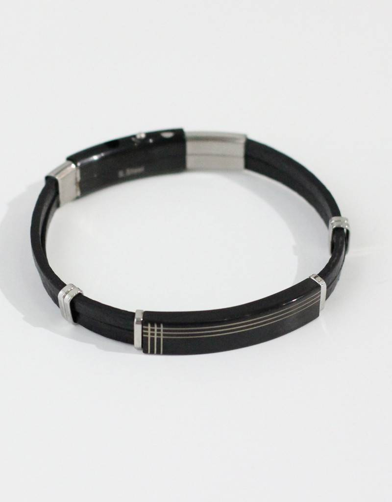Marpa Eager Brown Silver Leather Bracelet - 190