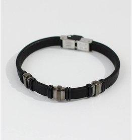 Crossroads Accessories Inc Black Silver Men's Leather Bracelet - 179
