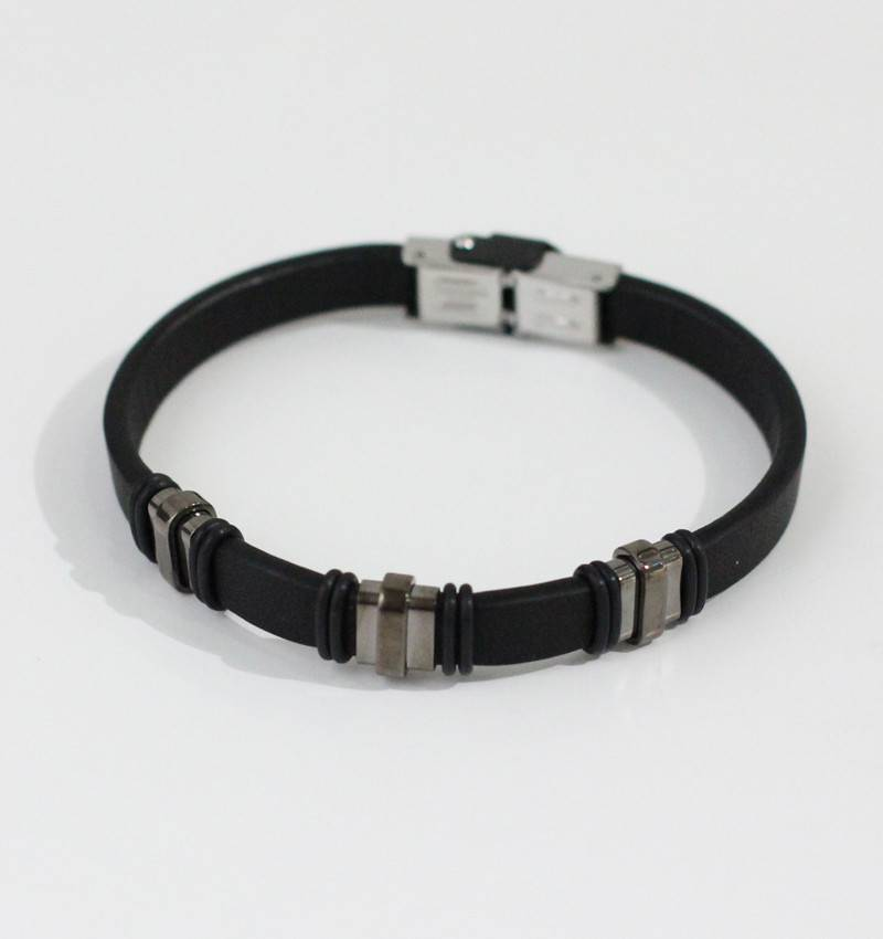 Marpa Eager Black Silver Leather Bracelet - 179