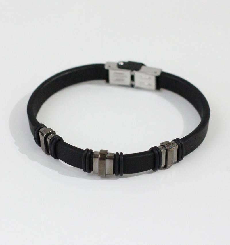 Marpa Eager Black Silver Leather Bracelet - 179