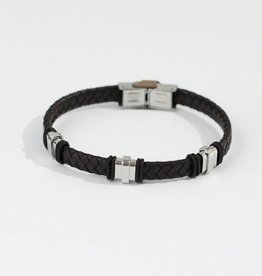 Marpa Eager Brown Silver Men's Leather Bracelet - 191