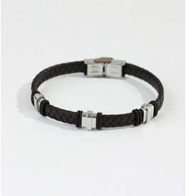 Crossroads Accessories Inc Brown Silver Men's Leather Bracelet - 191
