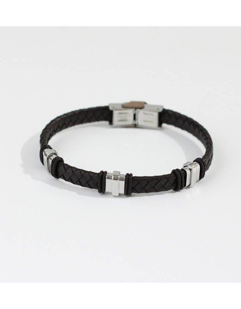 Crossroads Accessories Inc Brown Silver Men's Leather Bracelet - 191