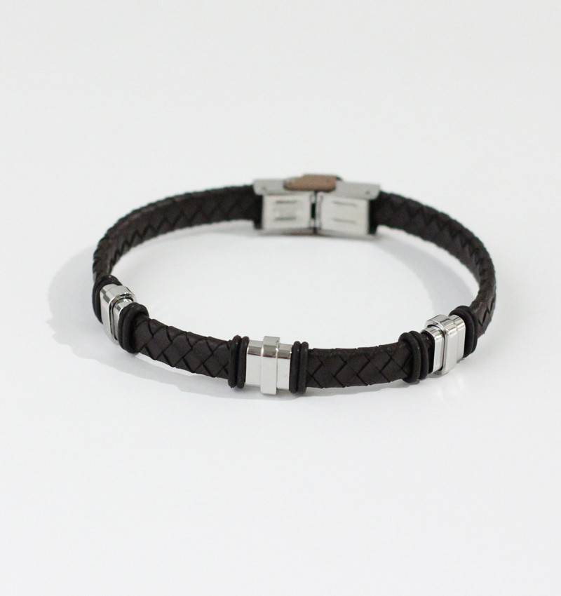 Marpa Eager Brown Silver Men's Leather Bracelet - 191