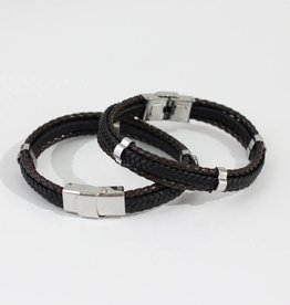 Marpa Eager Brown Black Silver Men's Leather Bracelet - 192