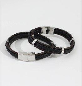 Crossroads Accessories Inc Brown Black Silver Men's Leather Bracelet - 192
