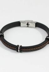 Marpa Eager Brown Black Silver Men's Leather Silicone Bracelet - 193